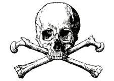 Wektorowa ilustracja ludzka czaszka i dwa kości Zdjęcia Royalty Free
