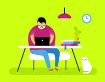 Wektorowa ilustracja mężczyzna, kot i koloru frontowego widoku wnętrze, ho fotografia stock
