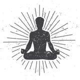 Wektorowa ilustracja męska sylwetka w medytować lotos pozę z ślimacznicą i sunburst na białym tle z brudnym grunge t Obraz Royalty Free