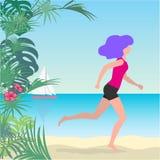 Wektorowa ilustracja młoda dziewczyna bieg na plaży ilustracji