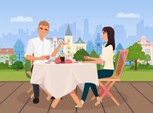 Wektorowa ilustracja młody człowiek i kobieta komunikuje siedzieć w outside kawiarni na starym miasta tle ilustracji