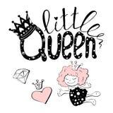 Wektorowa ilustracja mały królowa tekst dla dziewczyn odziewa obraz stock