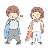 Wektorowa ilustracja małych dzieci bawić się ubiera up i postępujący jak bohater Bawić się bohatera wczesny dzieciństwo rozwój ilustracja wektor