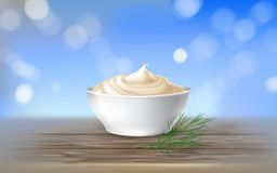 Wektorowa ilustracja majonez, kwaśna śmietanka, kumberland, słodka śmietanka, jogurt, kosmetyczna śmietanka royalty ilustracja
