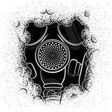 Wektorowa ilustracja maska gazowa w dymu na białym tle ilustracja wektor
