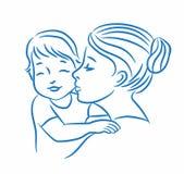 Wektorowa ilustracja matka i jej dziecko Obraz Stock