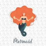 Wektorowa ilustracja medytuje syrenka z bieżącym włosy przy dnem ocean na kamieniu z skorupami w jej rękach ilustracji
