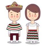 Wektorowa ilustracja meksykańscy dzieci, chłopiec, dziewczyna, ludzie Ustawiający meksykańska kobieta i mężczyzna, ubierał w kraj royalty ilustracja