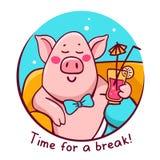 Wektorowa ilustracja menchie barwi charakter świni w błękitnym round fr obraz stock