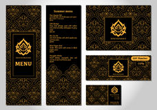 Wektorowa ilustracja menu dla cukiernianej Arabskiej orientalnej kuchni lub restauraci Obrazy Stock