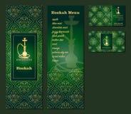 Wektorowa ilustracja menu dla restauraci lub cukierniana Arabska orientalna kuchnia z nargile, wizytówki Obraz Royalty Free
