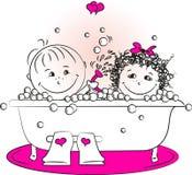 Wektorowa ilustracja, miłość mężczyzna i kobiety kąpanie w bathroo, Zdjęcie Stock