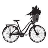 Wektorowa ilustracja miasto roweru czerni sylwetka ilustracji