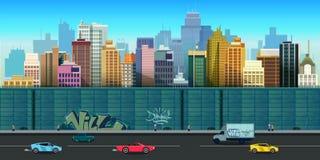Wektorowa ilustracja miastowych budynków bezszwowy tło Zdjęcie Stock