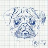 Wektorowa ilustracja mops psia głowa Zdjęcia Royalty Free