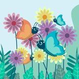 Wektorowa ilustracja motyl umieszczał i latał między kolorowymi kwiatami Insekt śliczna wektorowa ilustracja royalty ilustracja
