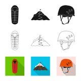 Wektorowa ilustracja mountaineering i szczytu logo Set mountaineering i obozu wektorowa ikona dla zapasu ilustracji