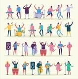 Wektorowa ilustracja muzycy w mieszkanie stylu Obraz Stock