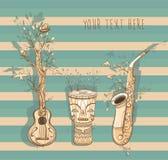 Wektorowa ilustracja muzyka na żywo z gitarą, saksofon, djembe Obraz Stock