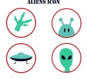 Wektorowa ilustracja na temacie ufology: ufo, obcy Posta? robi? w postaci ikony ilustracji