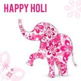Wektorowa ilustracja na wakacyjnym Holi w India Słoń malują z kwiatami Inskrypcja jest gratulacje ilustracja wektor