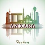 Wektorowa ilustracja nowożytny Ankara miasta linii horyzontu projekt z punktami zwrotnymi indyk Fotografia Royalty Free