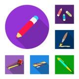 Wektorowa ilustracja ołówek i ostrzy znaka Set ołówek i koloru akcyjny symbol dla sieci ilustracji