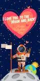 Wektorowa ilustracja o kosmosie dla walentynka dnia Obrazy Royalty Free