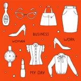 Wektorowa ilustracja odzieżowa kolorystyka i akcesoria inkasowi na pomarańczowym tle Royalty Ilustracja