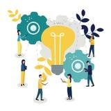 Wektorowa ilustracja, online asystent przy pracą Promocja w sieci Rewizja dla nowych ideologicznych rozwiązań, praca zespołowa ilustracji