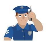 Wektorowa ilustracja opowiada na telefonie komórkowym policjant royalty ilustracja