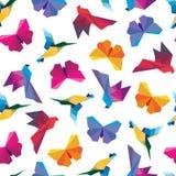 Wektorowa ilustracja origami ptaków bezszwowy wzór Zdjęcie Stock