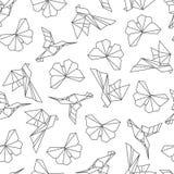 Wektorowa ilustracja origami ptaków bezszwowy wzór Obrazy Stock
