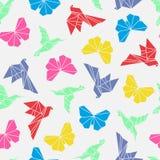 Wektorowa ilustracja origami ptaków bezszwowy wzór Zdjęcia Stock