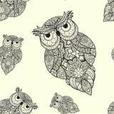 Wektorowa ilustracja ornamentacyjna sowa Obrazy Royalty Free