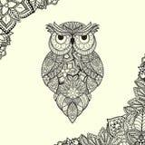 Wektorowa ilustracja ornamentacyjna sowa ptak Zdjęcia Stock