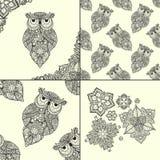 Wektorowa ilustracja ornamentacyjna sowa ptak Zdjęcie Stock