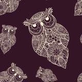 Wektorowa ilustracja ornamentacyjna sowa ptak Fotografia Stock