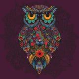 Wektorowa ilustracja ornamentacyjna sowa ptak Zdjęcie Royalty Free