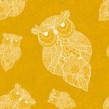 Wektorowa ilustracja ornamentacyjna sowa Ptak ilustrujący w plemiennym Obrazy Stock
