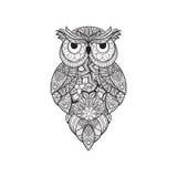 Wektorowa ilustracja ornamentacyjna sowa Ptak ilustrujący w plemiennym Na biel Obrazy Stock