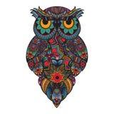 Wektorowa ilustracja ornamentacyjna sowa Ptak ilustrujący w plemiennym Na biel Fotografia Royalty Free