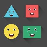 Wektorowa ilustracja Płascy ono Uśmiecha się kształty Fotografia Stock