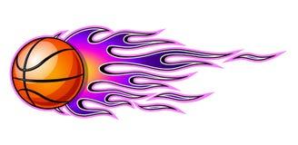 Wektorowa ilustracja płonącej koszykówki balowa ikona z płomieniami ilustracji
