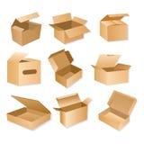 Wektorowa ilustracja pakuje pudełko karton Realistyczni brown kartonowi dostawa pakunki odizolowywający na białym tle ilustracja wektor
