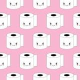 Wektorowa ilustracja, papieru toaletowego bezszwowy wz?r Szcz??liwi u?miechy, kresk?wka styl, t?o Kawaii styl ilustracja wektor