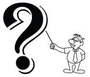 Wektorowa ilustracja paska mały mężczyzna pytać f Zdjęcie Stock