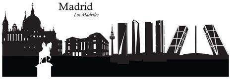 Wektorowa ilustracja pejzaż miejski linia horyzontu Madryt, Hiszpania Zdjęcia Stock
