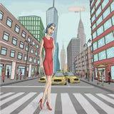 Wektorowa ilustracja piękna młodej kobiety dama w czerwieni sukni ilustracji