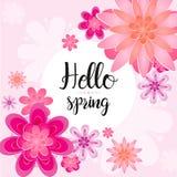Wektorowa ilustracja piękny kartka z pozdrowieniami wiosny list dekoruje z liściem i kwiatem w różowych kolorach Cześć ilustracja wektor